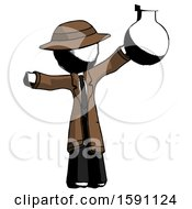 Ink Detective Man Holding Large Round Flask Or Beaker