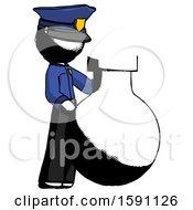 Ink Police Man Standing Beside Large Round Flask Or Beaker