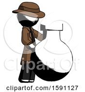 Ink Detective Man Standing Beside Large Round Flask Or Beaker