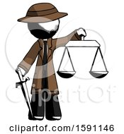 Ink Detective Man Justice Concept With Scales And Sword Justicia Derived