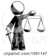 Ink Clergy Man Justice Concept With Scales And Sword Justicia Derived