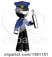 Ink Police Man Holding Dynamite With Fuse Lit