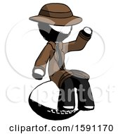 Ink Detective Man Sitting On Giant Football