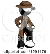 Ink Detective Man Standing With Foot On Football