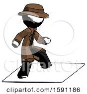 Ink Detective Man On Postage Envelope Surfing