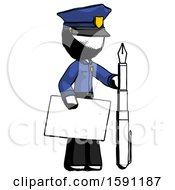 Ink Police Man Holding Large Envelope And Calligraphy Pen