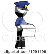 Ink Police Man Holding Package To Send Or Recieve In Mail