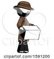 Ink Detective Man Holding Package To Send Or Recieve In Mail