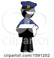 Ink Police Man Holding Box Sent Or Arriving In Mail