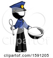 Ink Police Man With Empty Bowl And Spoon Ready To Make Something