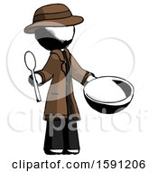 Ink Detective Man With Empty Bowl And Spoon Ready To Make Something