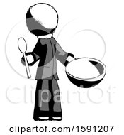 Ink Clergy Man With Empty Bowl And Spoon Ready To Make Something
