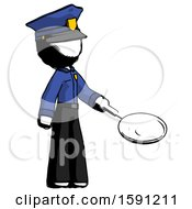 Ink Police Man Frying Egg In Pan Or Wok Facing Right