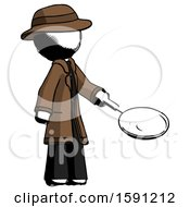 Poster, Art Print Of Ink Detective Man Frying Egg In Pan Or Wok Facing Right
