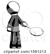 Ink Clergy Man Frying Egg In Pan Or Wok Facing Right