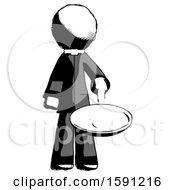Poster, Art Print Of Ink Clergy Man Frying Egg In Pan Or Wok