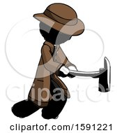 Ink Detective Man With Ax Hitting Striking Or Chopping