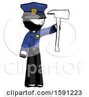 Ink Police Man Holding Up Red Firefighters Ax