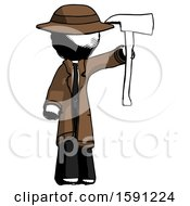 Ink Detective Man Holding Up Red Firefighters Ax