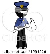 Ink Police Man Holding Red Fire Fighters Ax