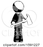 Ink Clergy Man Holding Red Fire Fighters Ax