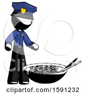 Ink Police Man And Noodle Bowl Giant Soup Restaraunt Concept