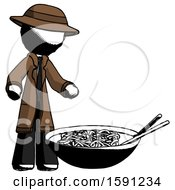 Ink Detective Man And Noodle Bowl Giant Soup Restaraunt Concept