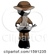 Ink Detective Man Serving Or Presenting Noodles