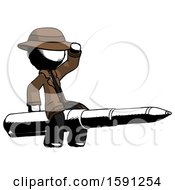 Ink Detective Man Riding A Pen Like A Giant Rocket