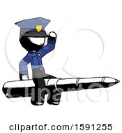Ink Police Man Riding A Pen Like A Giant Rocket