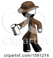 Ink Detective Man Begger Holding Can Begging Or Asking For Charity Facing Left
