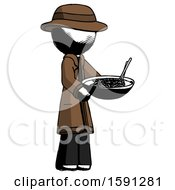 Ink Detective Man Holding Noodles Offering To Viewer