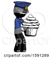 Ink Police Man Holding Large Cupcake Ready To Eat Or Serve