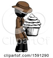 Ink Detective Man Holding Large Cupcake Ready To Eat Or Serve