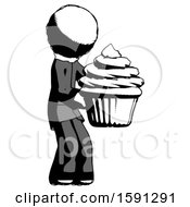 Ink Clergy Man Holding Large Cupcake Ready To Eat Or Serve