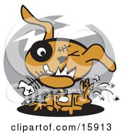 Zombie Dog Chewing On A Fishbone And Itching Fleas Off Of His Back Clipart Illustration