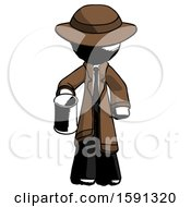 Ink Detective Man Begger Holding Can Begging Or Asking For Charity
