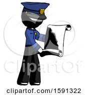 Ink Police Man Holding Blueprints Or Scroll