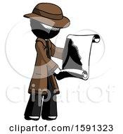 Ink Detective Man Holding Blueprints Or Scroll