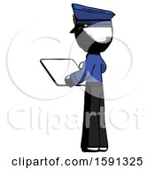 Ink Police Man Looking At Tablet Device Computer With Back To Viewer