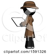 Ink Detective Man Looking At Tablet Device Computer With Back To Viewer