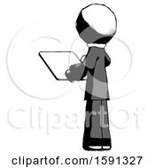 Ink Clergy Man Looking At Tablet Device Computer With Back To Viewer