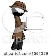 Ink Detective Man Show Tablet Device Computer To Viewer Blank Area