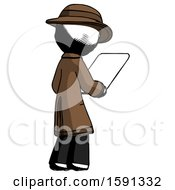 Ink Detective Man Looking At Tablet Device Computer Facing Away