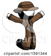 Ink Detective Man Jumping Or Kneeling With Gladness