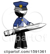 Ink Police Man Writer Or Blogger Holding Large Pencil