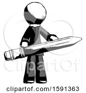 Ink Clergy Man Writer Or Blogger Holding Large Pencil