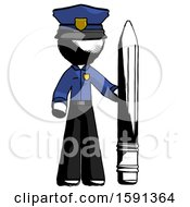 Ink Police Man With Large Pencil Standing Ready To Write