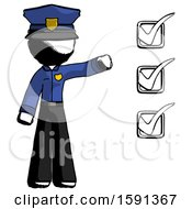 Ink Police Man Standing By List Of Checkmarks