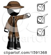 Ink Detective Man Standing By List Of Checkmarks